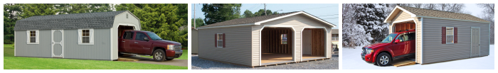 one car and double wide garages in wood or vinyl siding from Pine Creek Structures