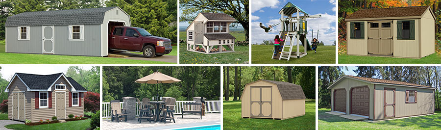 Pine Creek Structures product line includes garages, storage sheds, chicken coops, outdoor patio furniture, play sets, modular double wide garages, mini barns, and more